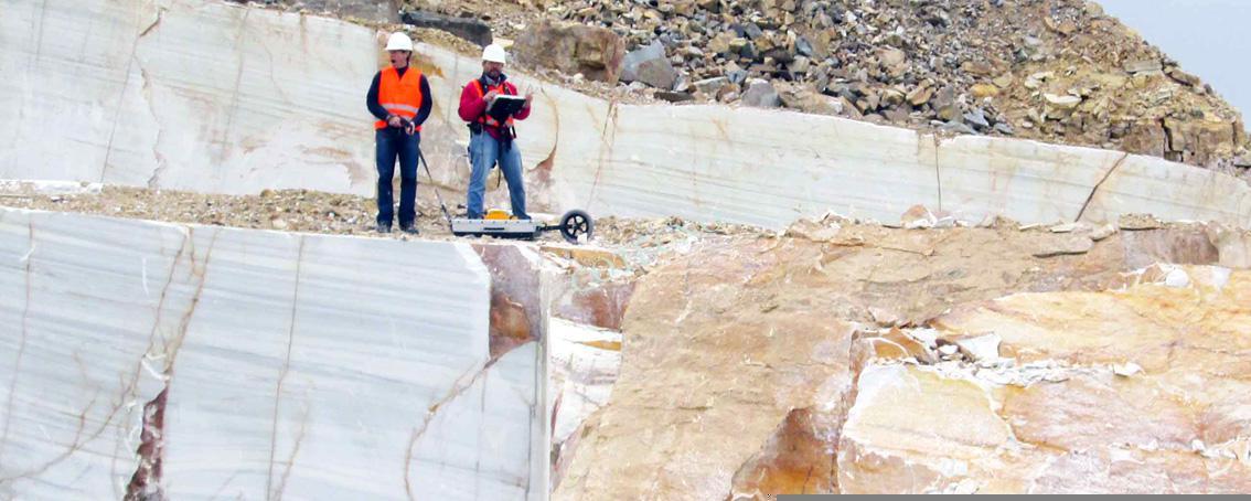 Georadar en detección de fracturas de bloques de piedra