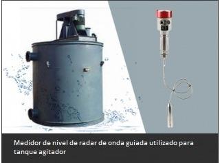 Medidor de nivel de radar de onda guiada utilizado para tanque agitador